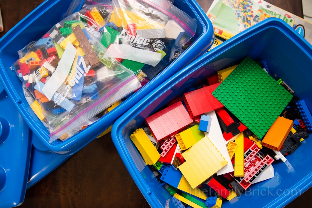 Bucket of LEGO bricks