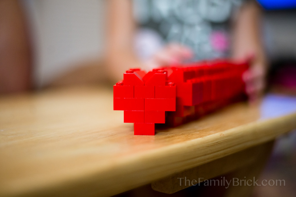 LEGO Valentines in a row