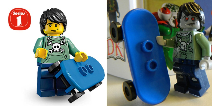 LEGO Minifigures - Series 1 Skater and Series 14 Zombie Skater