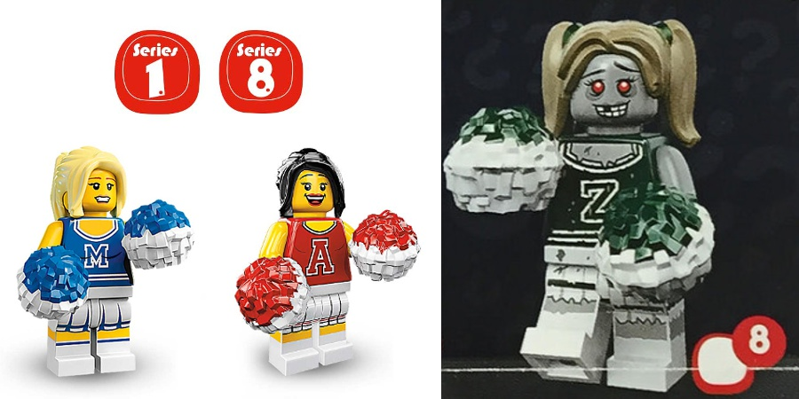 LEGO Minifigures - Series 1 and 8 Cheerleader and Series 14 Zombie Cheerleader