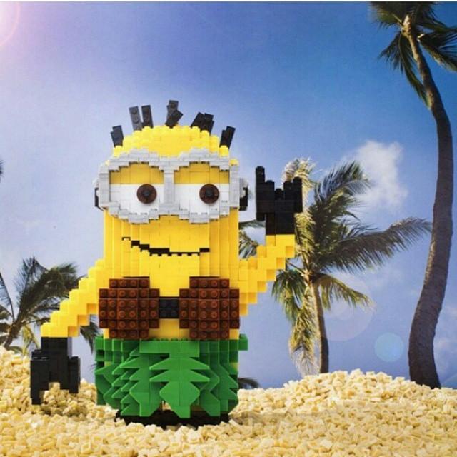 LEGO minion in hawaiian outfit
