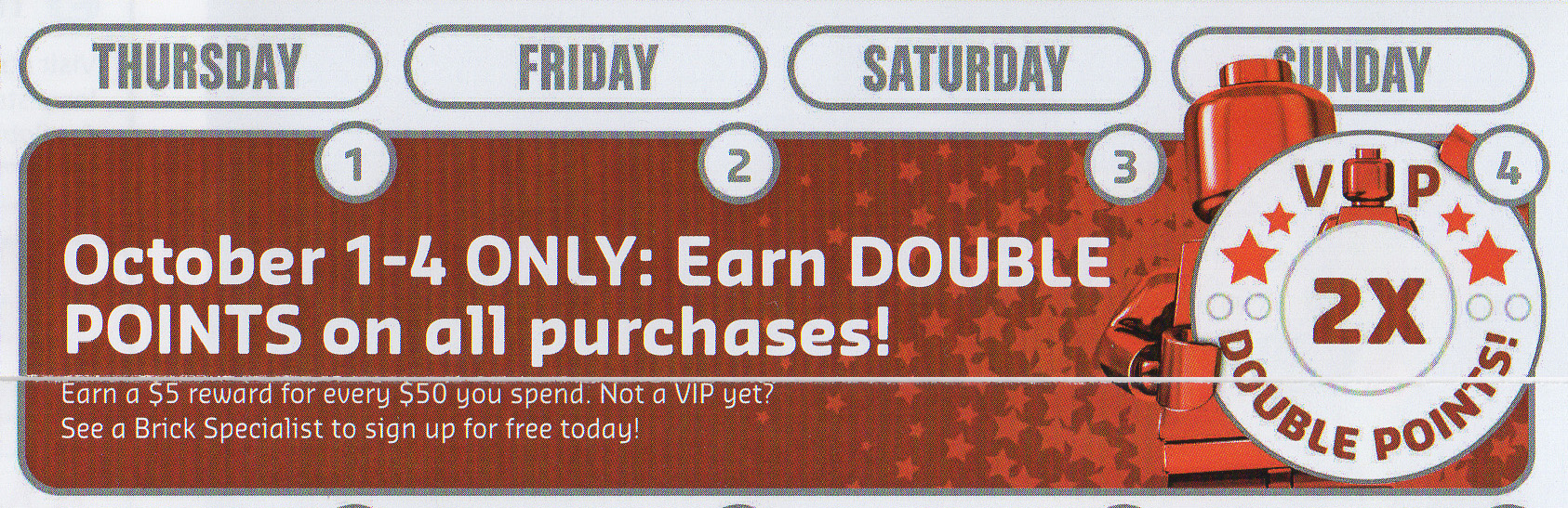 LEGO Double VIP Points October 2015