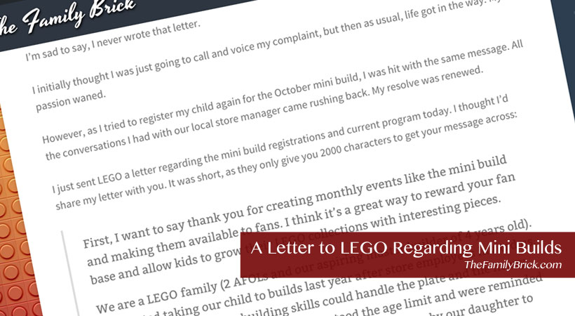 Letter to LEGO Regarding Mini Builds