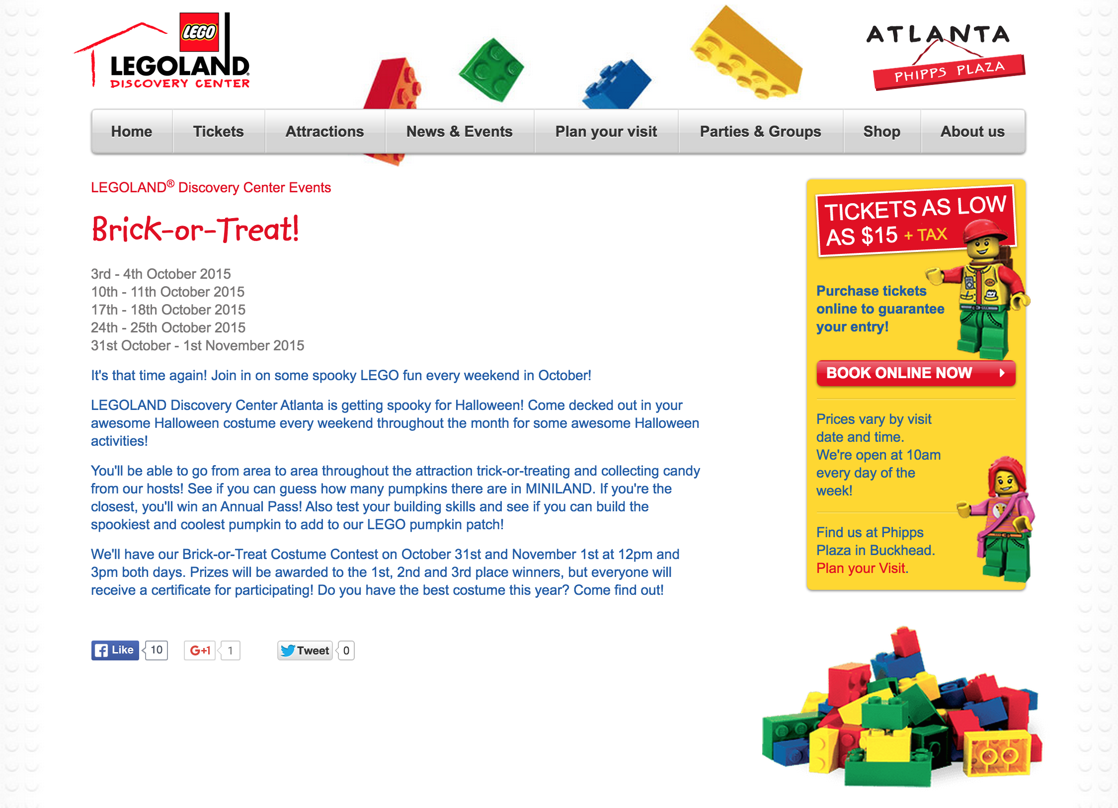 LEGOLAND Discovery Center Brick-or-Treat Weekends