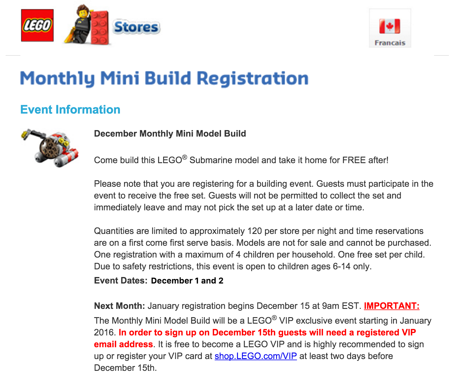 Change in the LEGO Monthly Mini Build Program