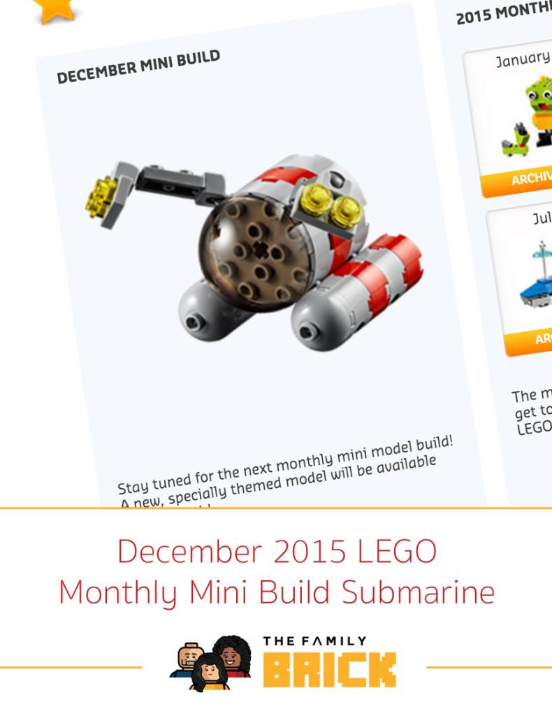 December 2015 LEGO Monthly Mini Build Submarine