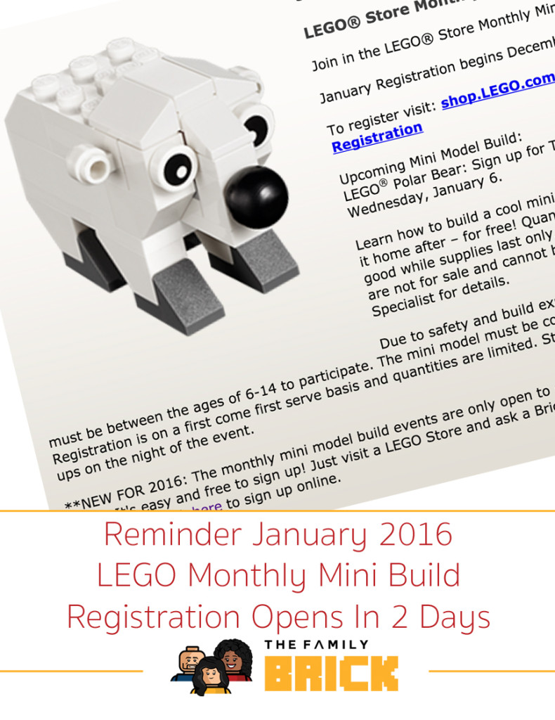 Reminder January 2016 LEGO Monthly Mini Build Registration Opens In 2 Days