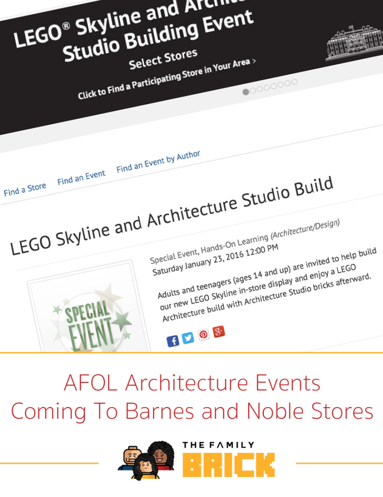 AFOL Architecture Events Coming To Barnes and Noble Stores