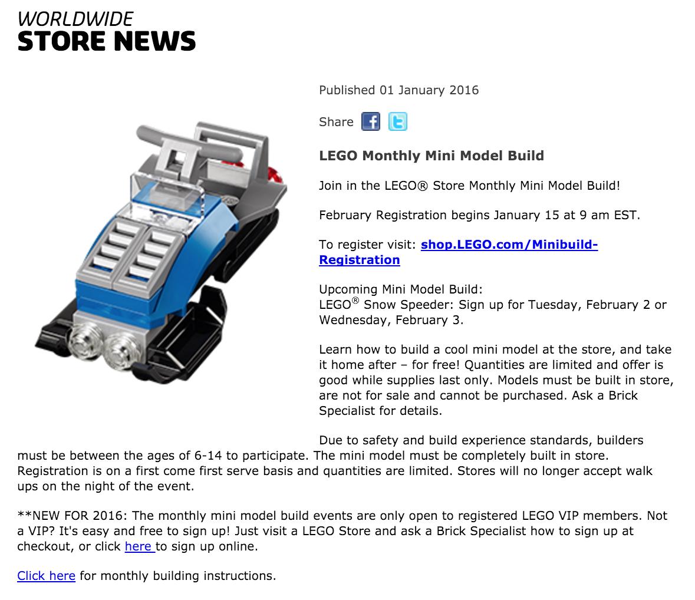 February 2016 LEGO Monthly Mini Build Information