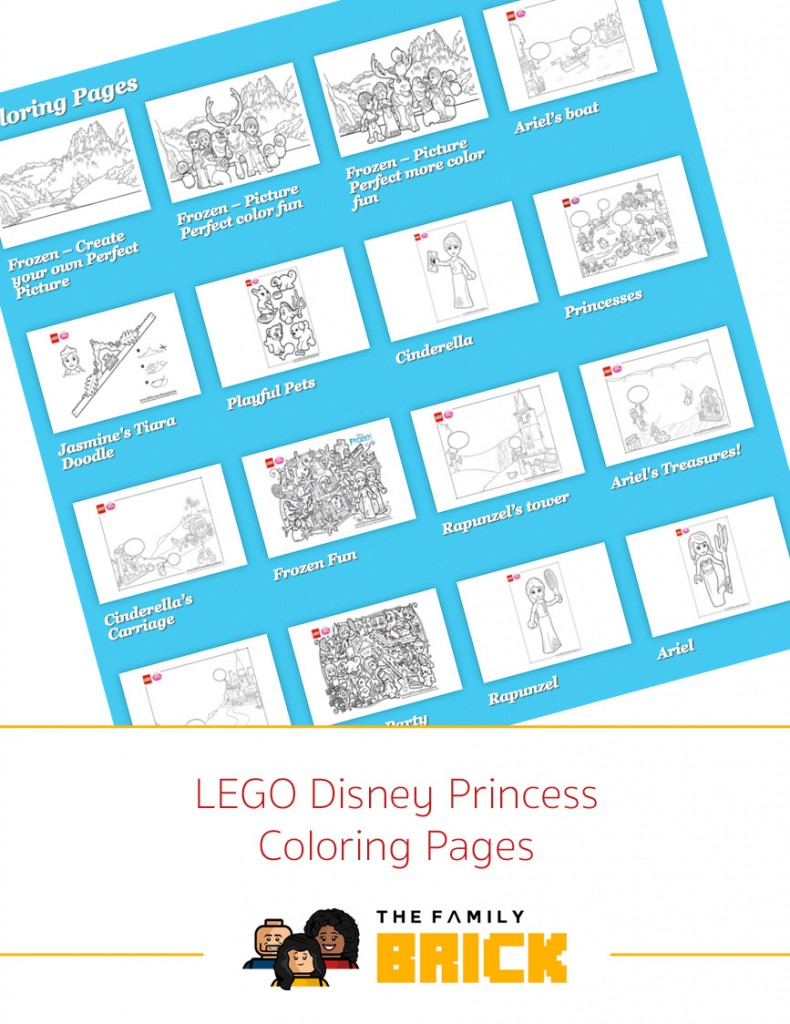 LEGO Disney Princess Coloring Pages - The Family Brick
