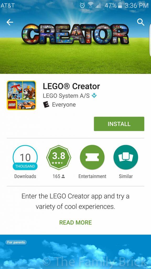 LEGO Creator App Screenshot
