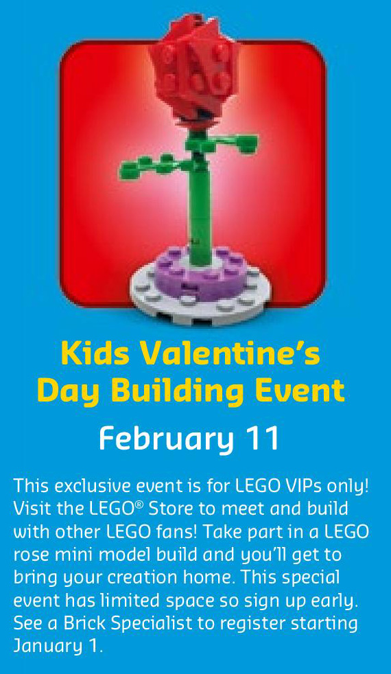 February 2017 LEGO Monthly Calendar - Kids Valentine's Day Building Event