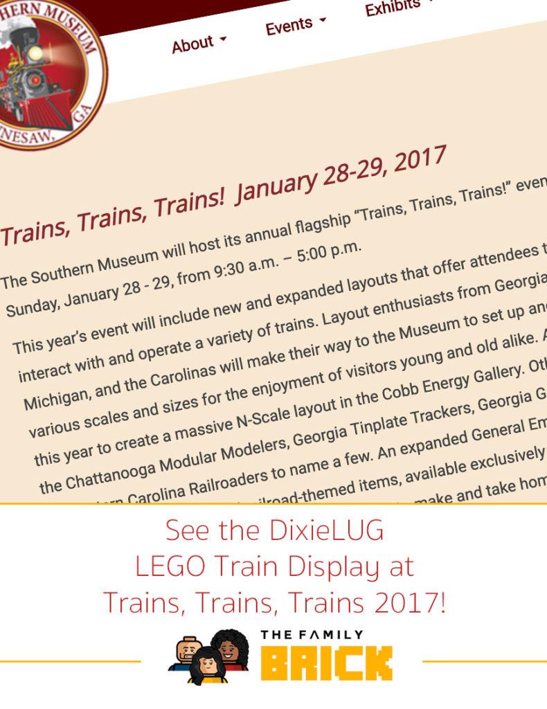 See the DixieLUG LEGO Train Display at Trains, Trains, Trains 2017!